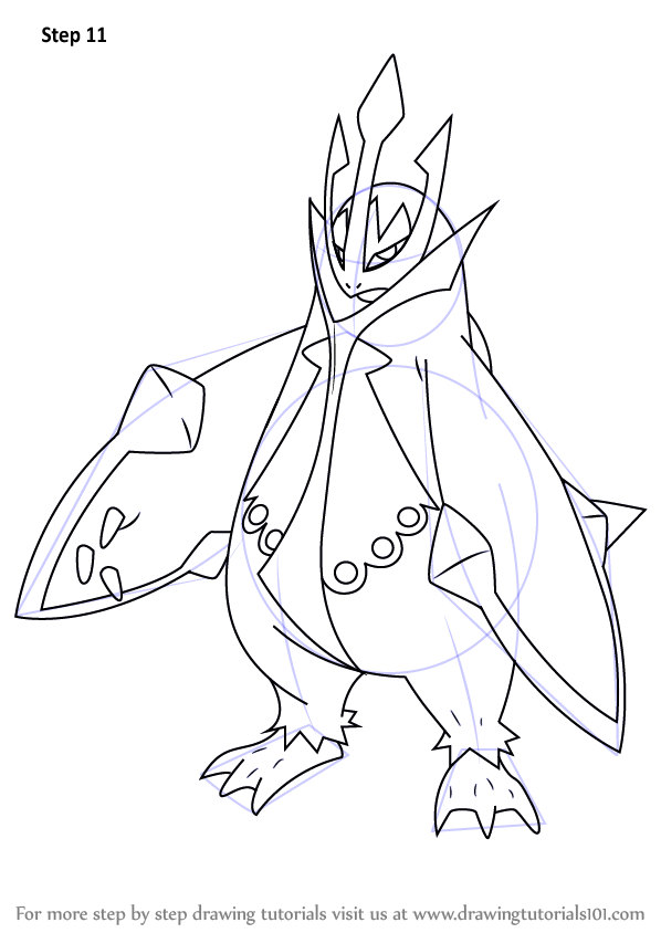 Step By Step How To Draw Empoleon From Pokemon