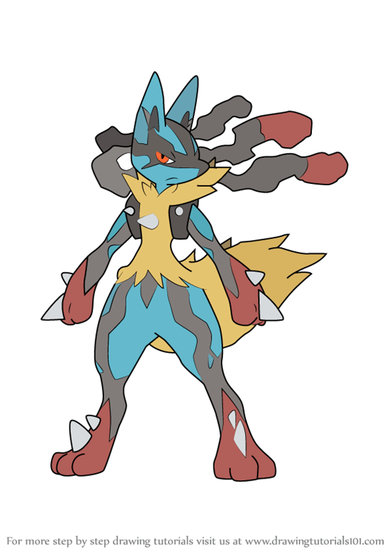 Learn How to Draw Mega Lucario from Pokemon (Pokemon) Step