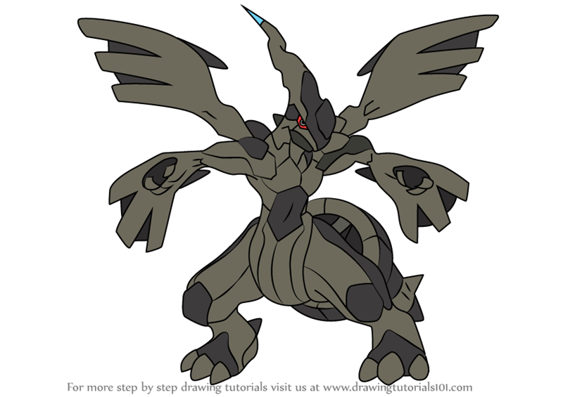 Learn How To Draw Zekrom From Pokemon Pokemon Step By Step Drawing