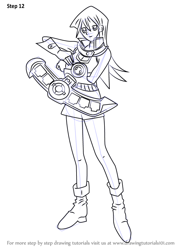 Step by Step How to Draw Alexis Rhodes from Yu-Gi-Oh! GX