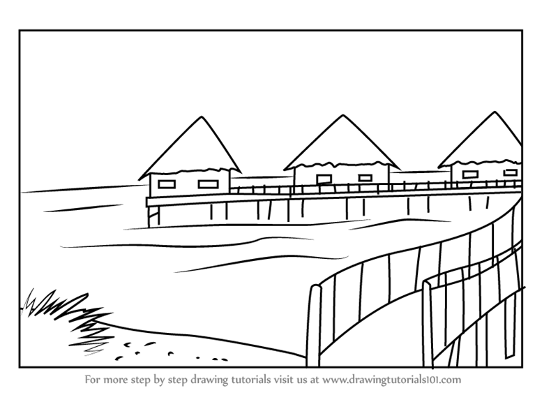 Learn How to Draw Beach Huts (Beaches) Step by Step