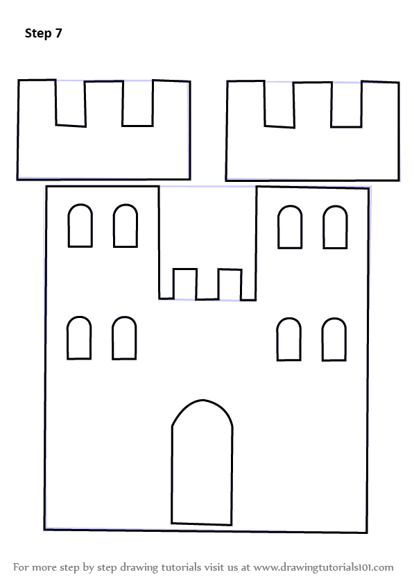 Learn How to Draw a Castle Tower for Kids (Castles) Step