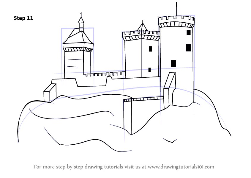 Learn How to Draw a Medieval Castle (Castles) Step by Step