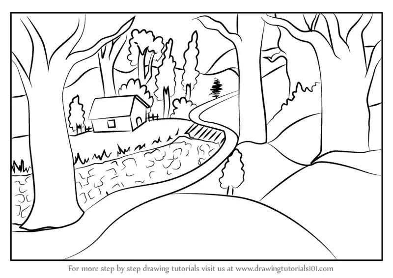 Mountain Scene Drawing At Getdrawings Com