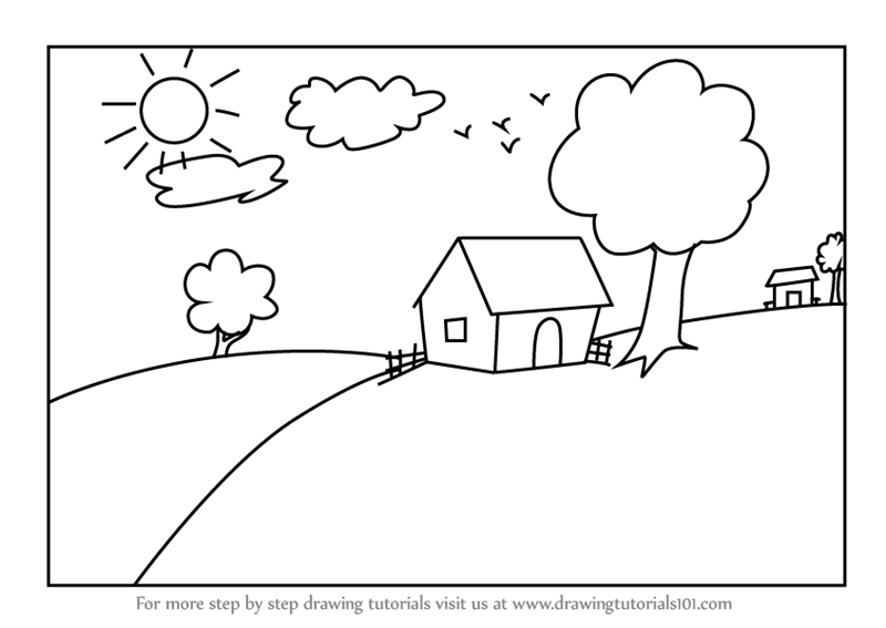 Learn How To Draw A House Scenery For Kids Scenes Step By Step Drawing Tutorials
