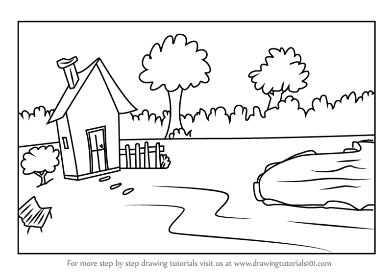 Learn How To Draw A House With Garden And Pool Scene