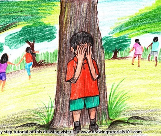 How To Draw Kids Playing Hide And Seek Game