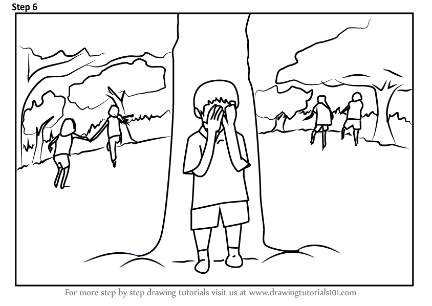 Learn How to Draw Kids Playing Hide and Seek Game (Scenes