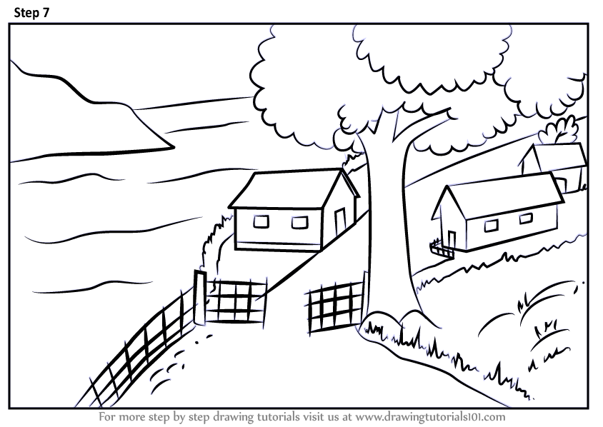 Learn How to Draw A Beautiful Village Scenery (Villages