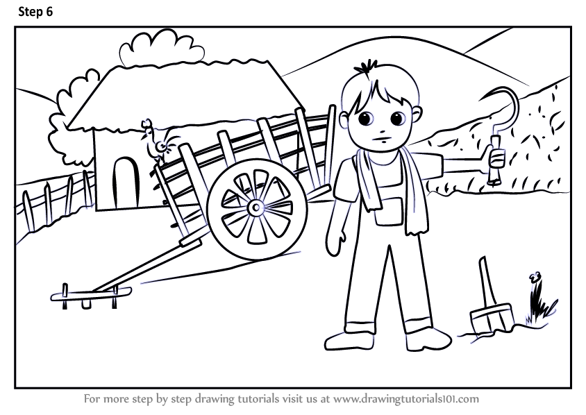 Learn How to Draw a Farmer Village Scene (Villages) Step