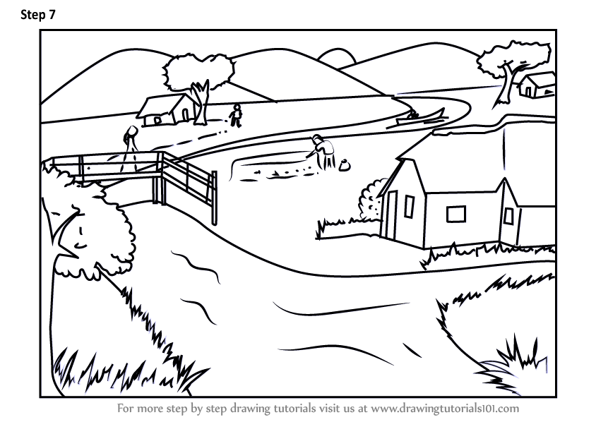 Learn How to Draw an Indian village (Villages) Step by