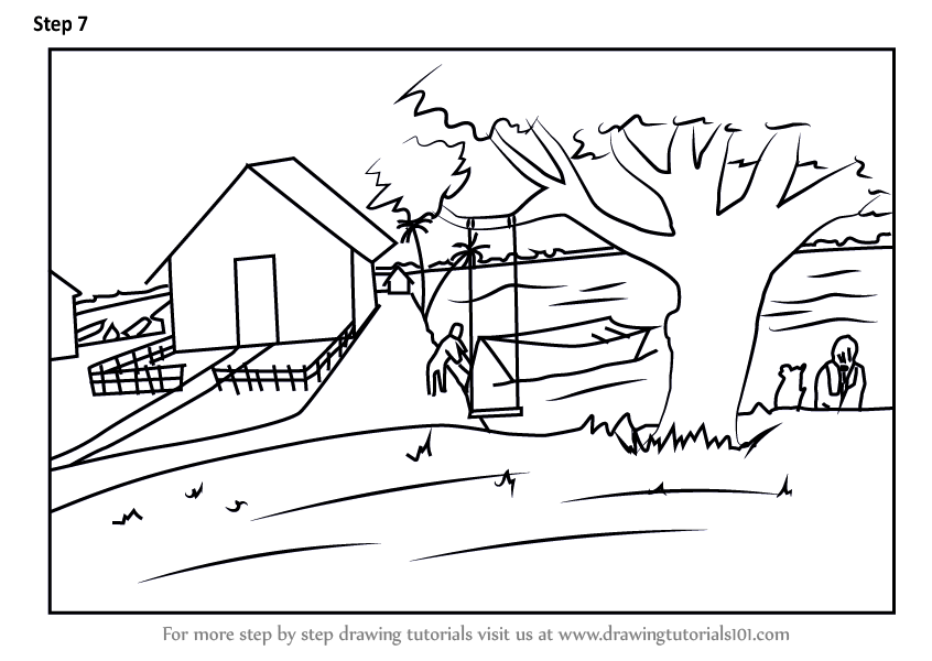 Learn How to Draw Rural Scenery (Villages) Step by Step