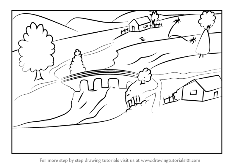 Learn How to Draw Village with River (Villages) Step by