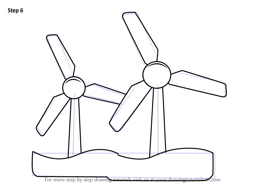 Learn How to Draw Wind Energy (Windmills) Step by Step