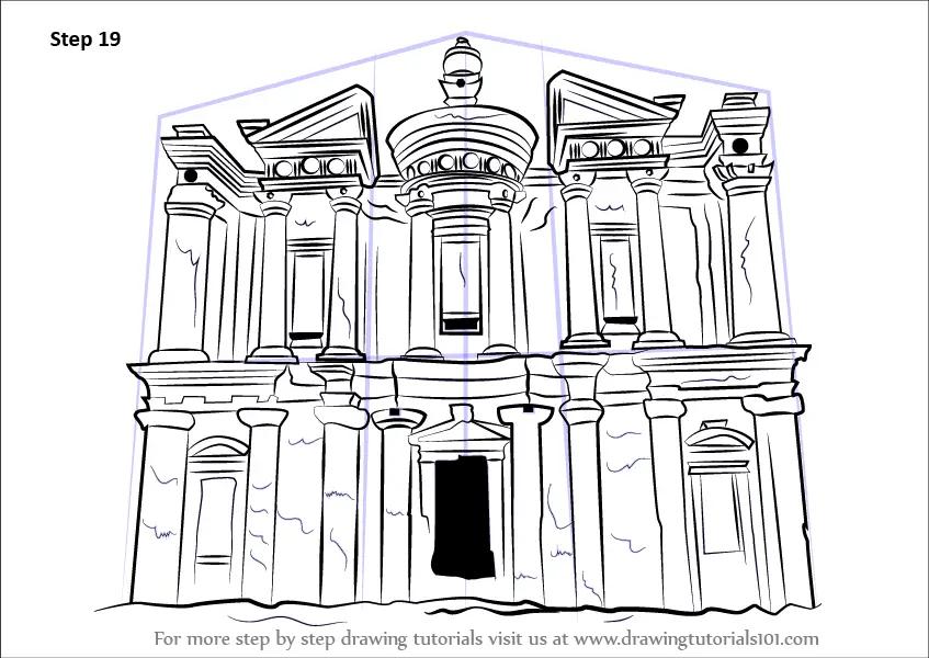 Step by Step How to Draw Ad Deir Monastery