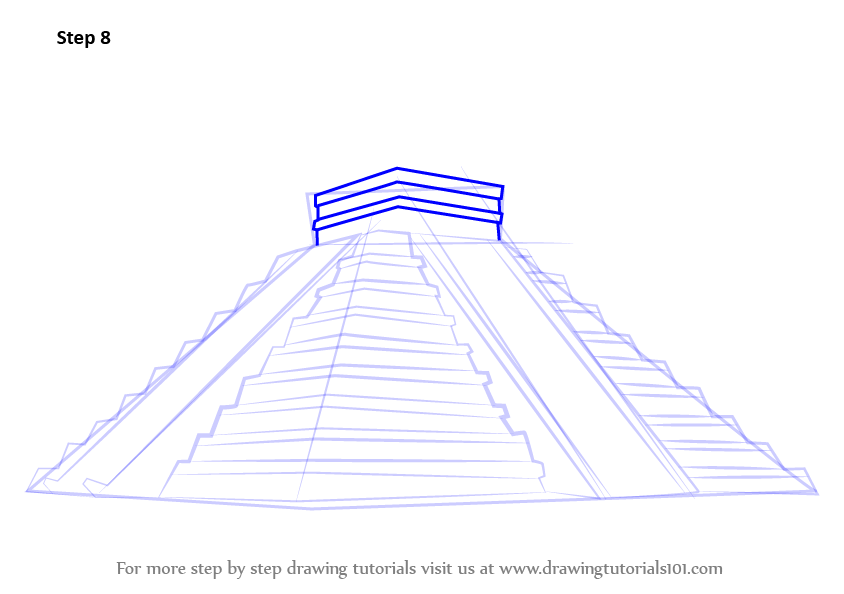 printable pyramid diagram home theater wiring learn how to draw el castillo chichen itza (wonders of the world) step by : drawing tutorials