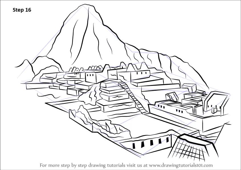 Learn How to Draw Machu Picchu (Wonders of The World) Step