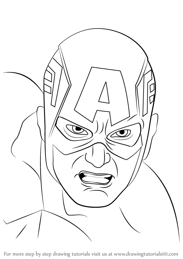 Learn How to Draw Captain America Face (Captain America