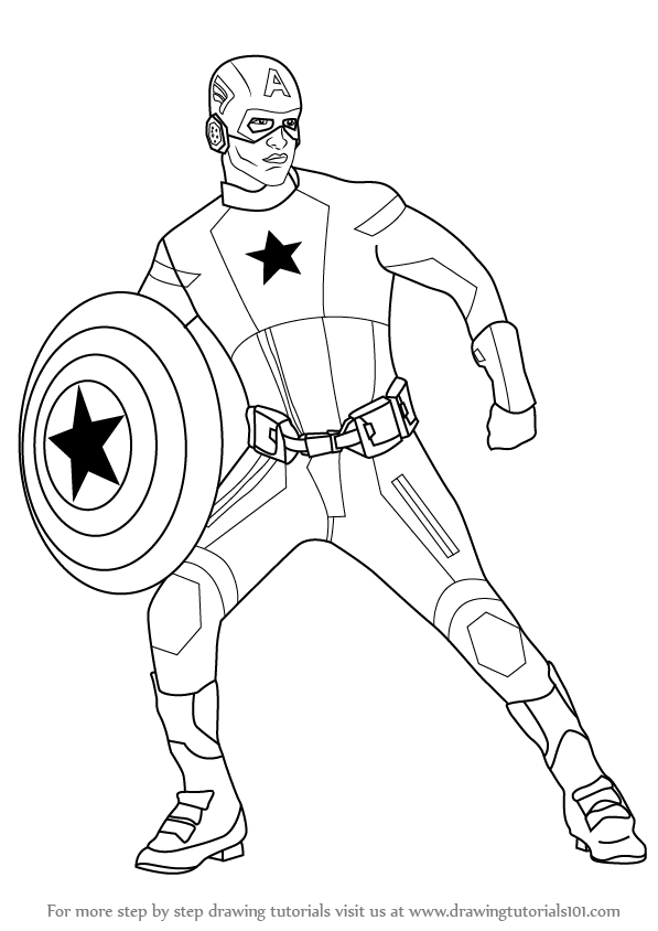 Learn How to Draw Captain America (Captain America) Step