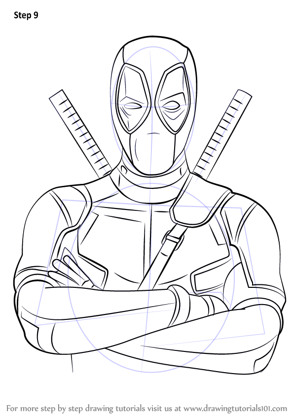 Learn How to Draw Deadpool (Deadpool) Step by Step