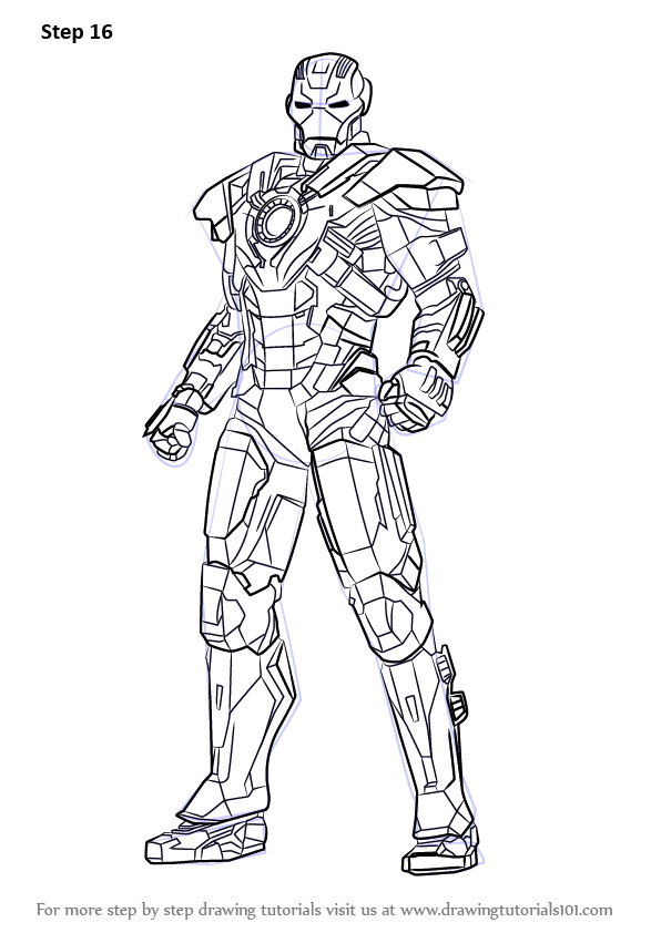 Learn How to Draw Iron Man Full Body (Iron Man) Step by