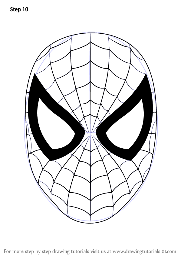 Step by Step How to Draw Spiderman Face