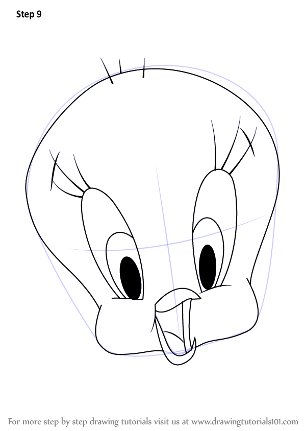 Learn How to Draw Tweety Bird Face (Tweety) Step by Step