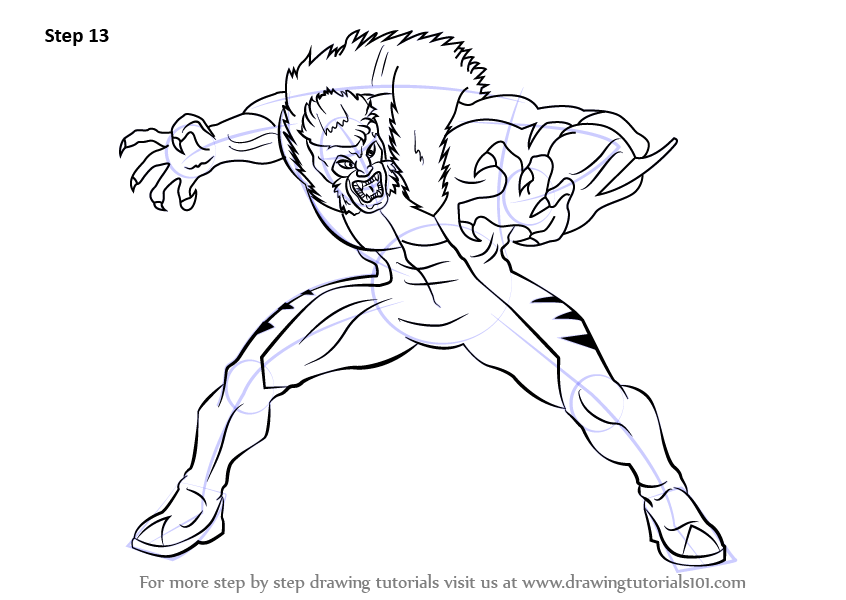Learn How to Draw Sabretooth from X-Men (X-Men) Step by