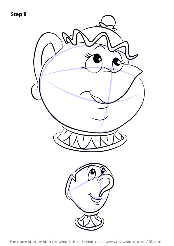 Chip And Mrs Potts Coloring Pages