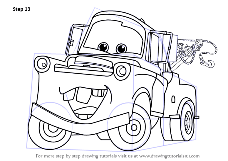 Step by Step How to Draw Tow Mater from Cars ...
