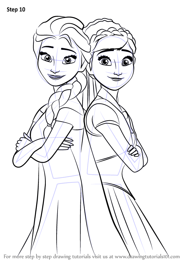 Learn How to Draw Elsa and Anna from Frozen Fever Frozen