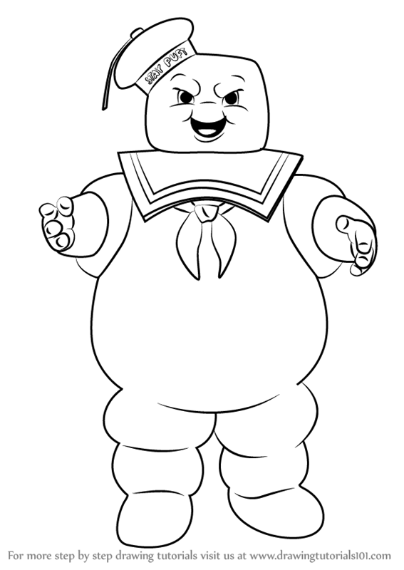 learn how to draw stay puft marshmallow man from