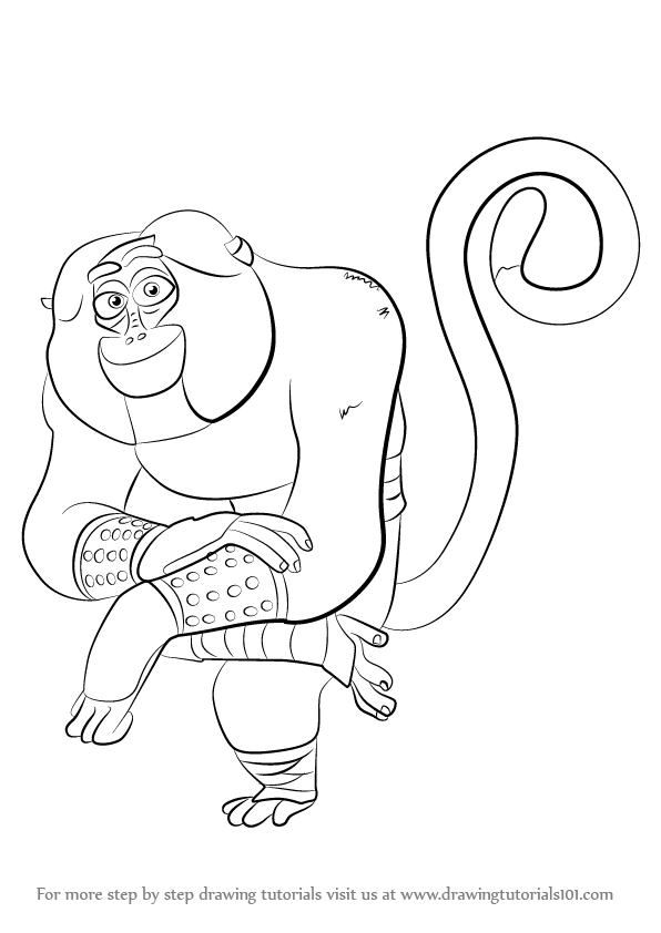 Learn How to Draw Monkey from Kung Fu Panda 3 Kung Fu