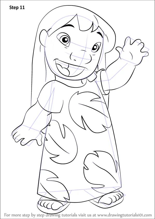 Learn How to Draw Lilo Pelekai from Lilo and Stitch (Lilo