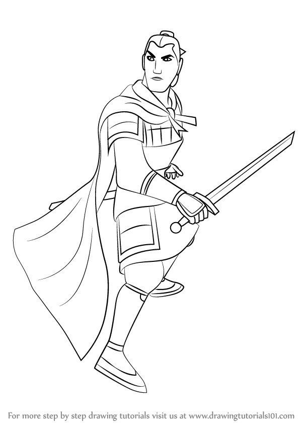Learn How to Draw Captain Li Shang from Mulan (Mulan) Step