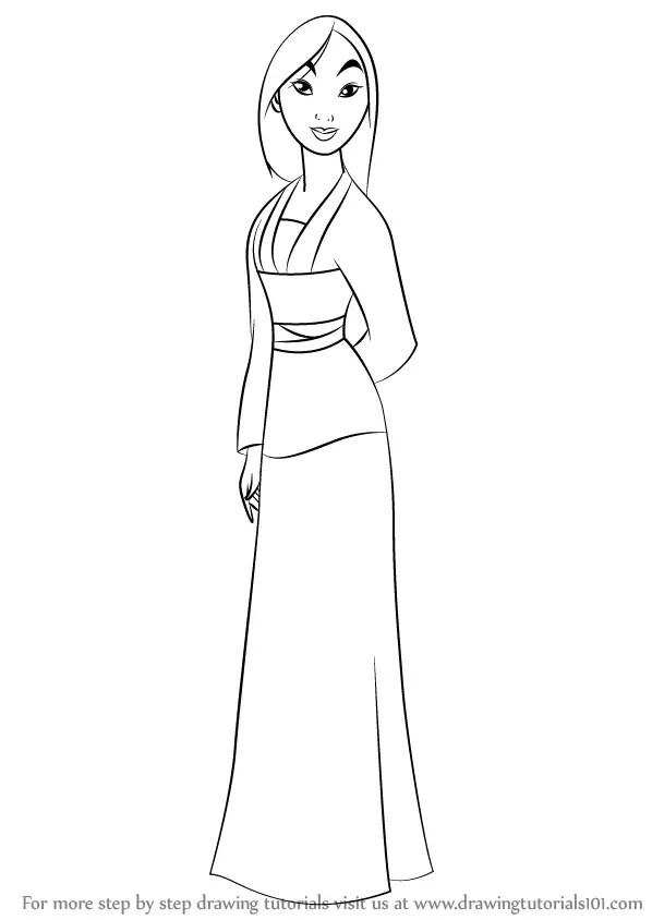 Learn How to Draw Fa Mulan from Mulan (Mulan) Step by Step