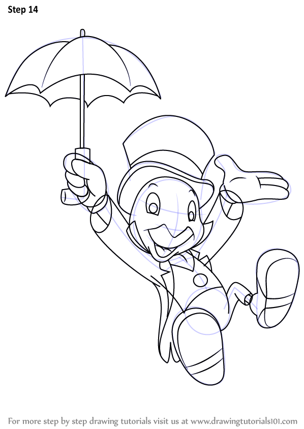 Learn How to Draw Jiminy Cricket from Pinocchio (Pinocchio