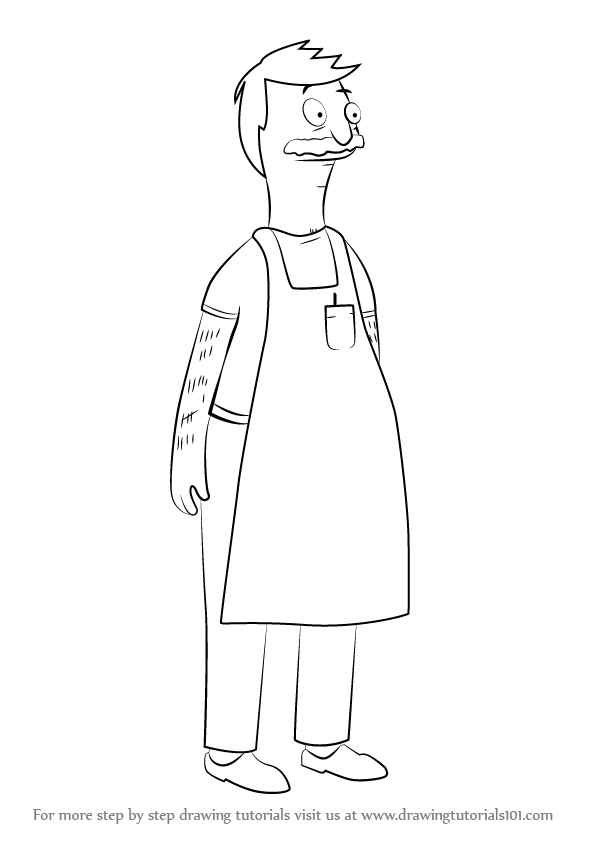 stepstep how to draw bob belcher from bob's burgers