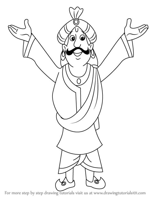 Step by Step How to Draw Raja Indravarma from Chhota Bheem