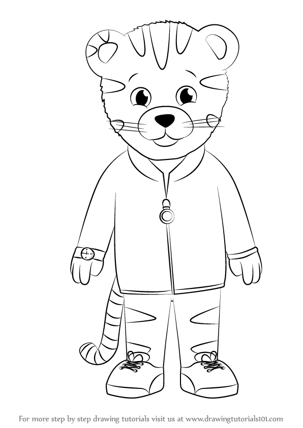 Learn How to Draw Daniel Striped Tiger from Daniel Tiger's