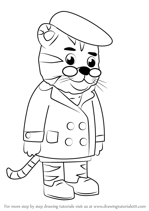 Learn How to Draw Grandpere Tiger from Daniel Tiger's