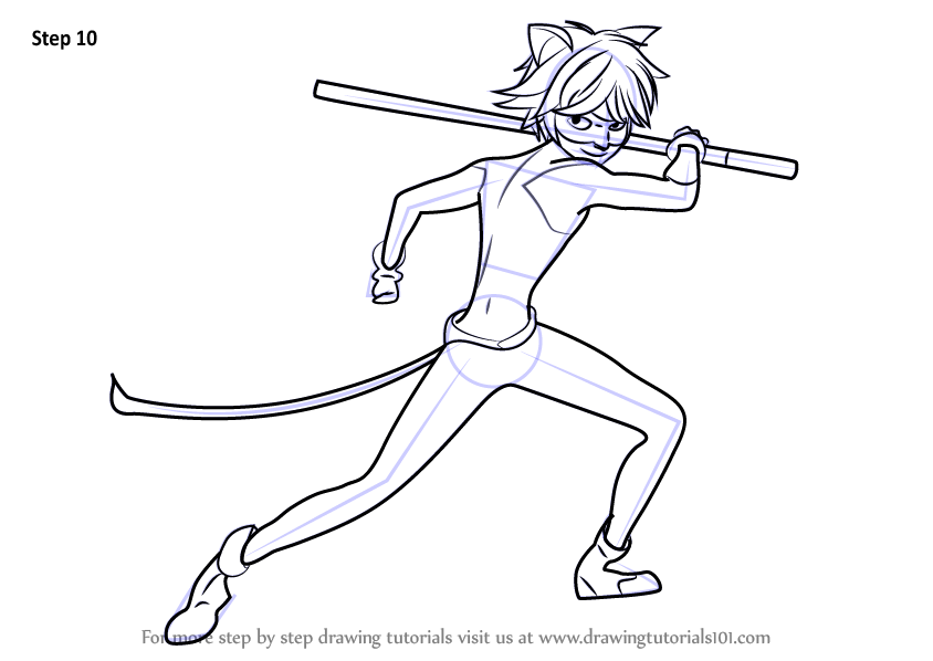 Learn How to Draw Cat Noir from Miraculous Ladybug