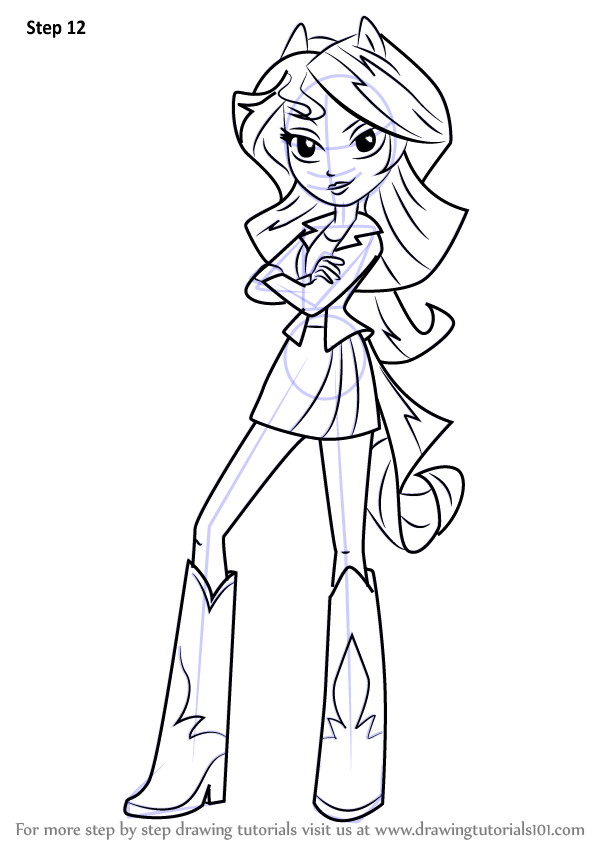 Step by Step How to Draw Sunset Shimmer Human from My
