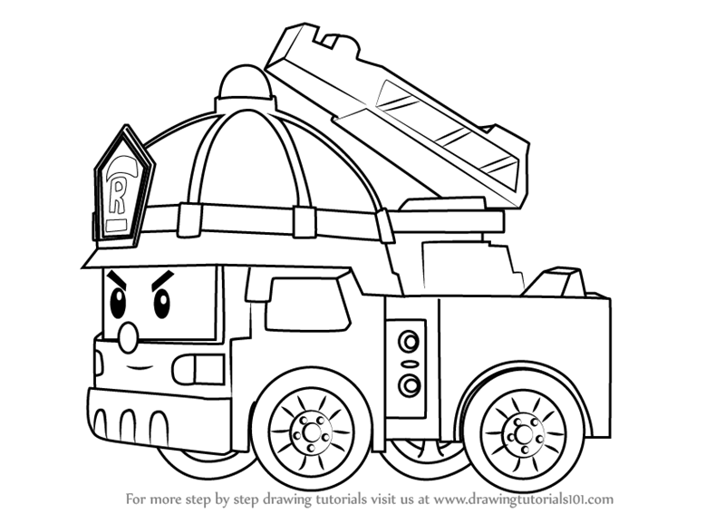 Step by Step How to Draw Roy Fire Truck from Robocar Poli