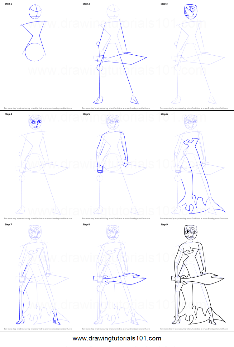 medium resolution of step by step drawing tutorial on how to draw ikra from samurai jack
