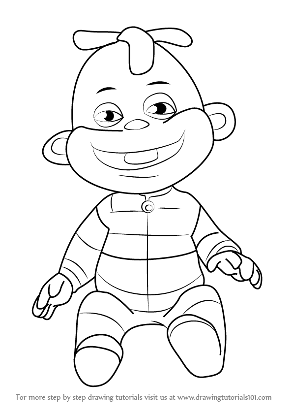 Step by Step How to Draw Zeke from Sid the Science Kid