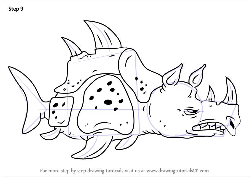Step By Step How To Draw Sea Rhinoceros From SpongeBob