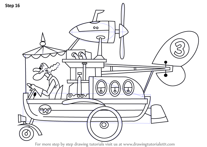 Learn How to Draw The Convert-a-Car from Wacky Races