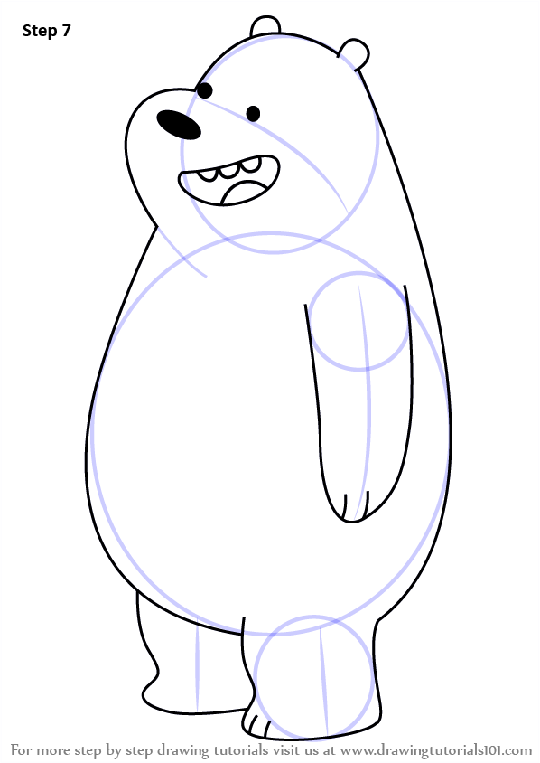 Step By Step How To Draw Gizzly Bear From We Bare Bears