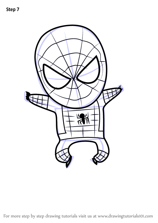 Learn How to Draw Chibi Spiderman (Chibi Characters) Step